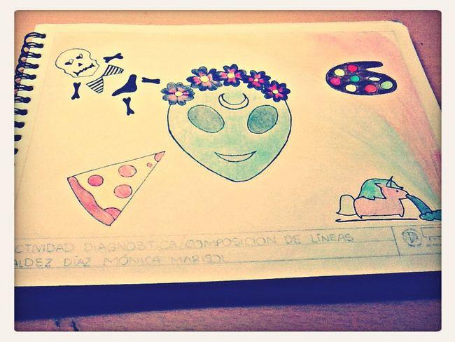 Drawing Extraterrestres Pizza Unicornio