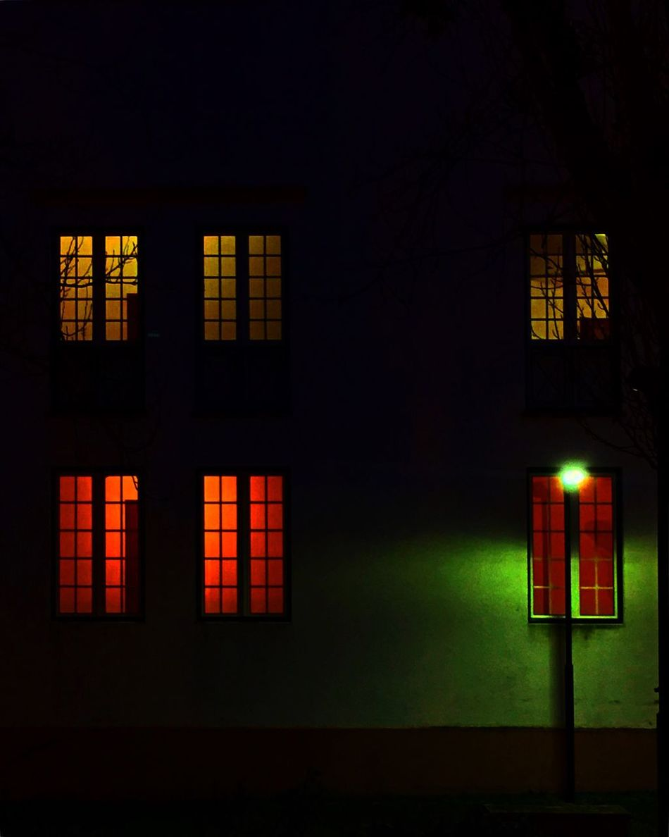House of colors // Illuminated Night Outdoors Architecture Building Exterior No People House Colors Colorful Theater