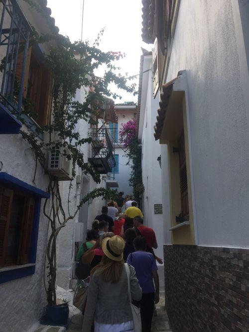 Through narrow streets of Skiathos town. Greece photos Skiathos Narrow Streets Built Structure Building Exterior Houses