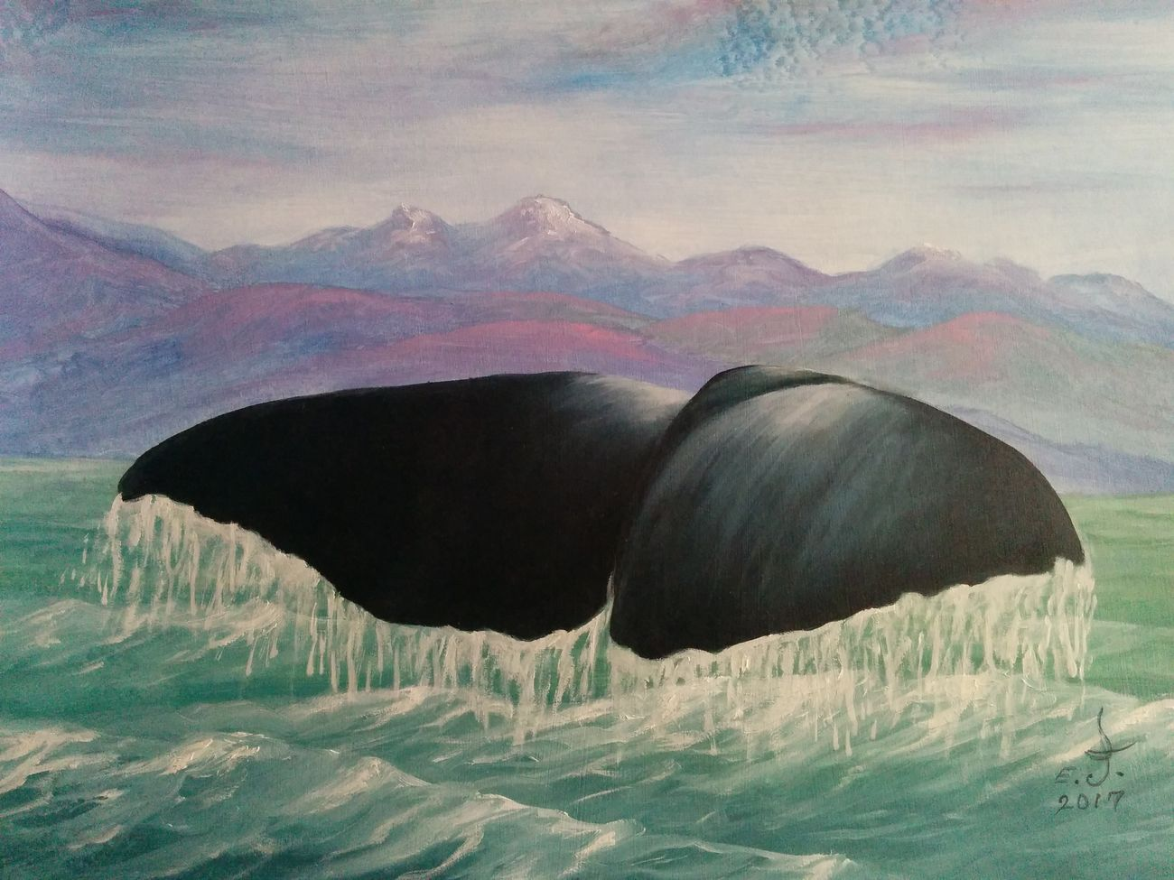 "Blue whale tail ,a majestic sea creature who soffered from us humans for centuries just for a few dollars ,please stop destroying our planet and please stop killing for profit,,,thank you.oil on canvas 18""_24"" Nature Beauty In Nature Wildlife Wildlife & Nature Marine Animal Blue Whale Precious Animals Beauty Oil Painting Fine Art Art Drawing Art, Drawing, Creativity One Animal Beauty In Nature ArtWork Scenics Original Art Animals In The Wild My Best Friends ❤ Love♥ Friendship. ♡   My Art Collection My Seascape Collection Sea Life dedicated to my best friend Ppbaby with lots of love and respect,,."