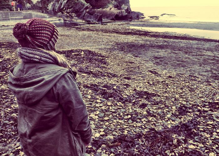Autumn Autumn Beach Beach Bobble Hat  Green Coat Holiday Ilfracombe Ilfracombe, Devon. Nature One Person Pebbles Real People Rear View Sand Sea