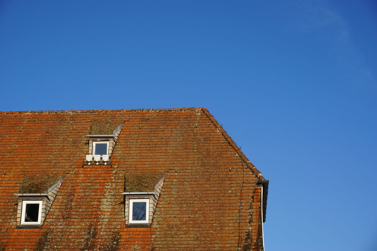 Architecture Blue Brick Wall Building Exterior Built Structure Clear Sky Day House Low Angle View No People Outdoors