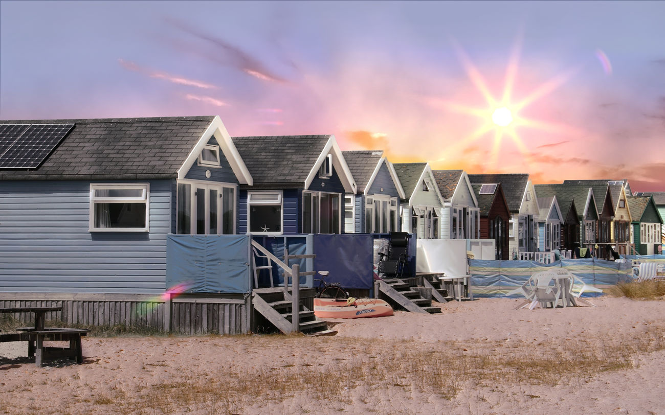 Beach Huts at Hengistbury Head Architecture Building Exterior Built Structure Cloud - Sky Day House No People Outdoors Roof Sky Sunset Water