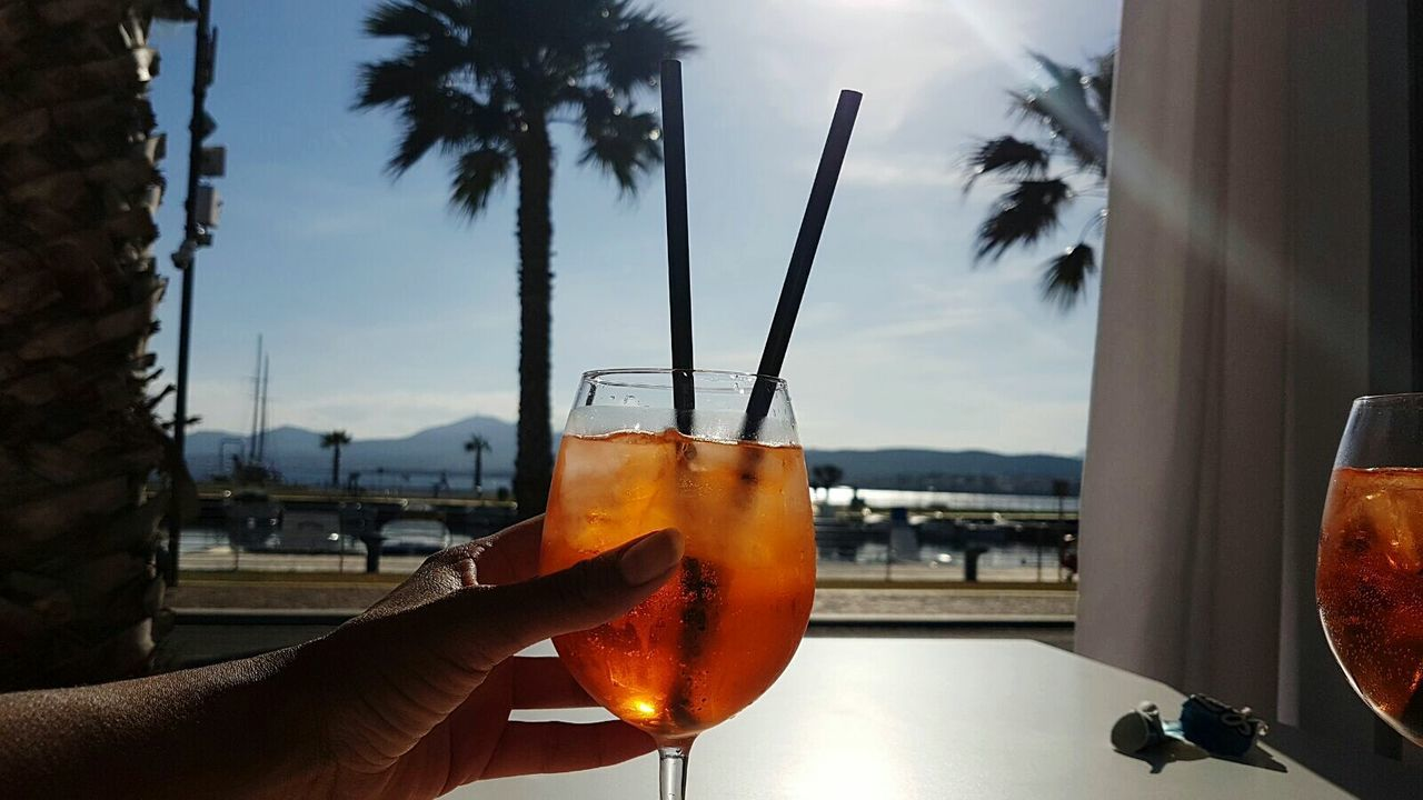 Spritz Analcolic Drinks Aperitivo  Palms Hand Selfie Sardinia Sardegna Cerdeña Drinking Glass