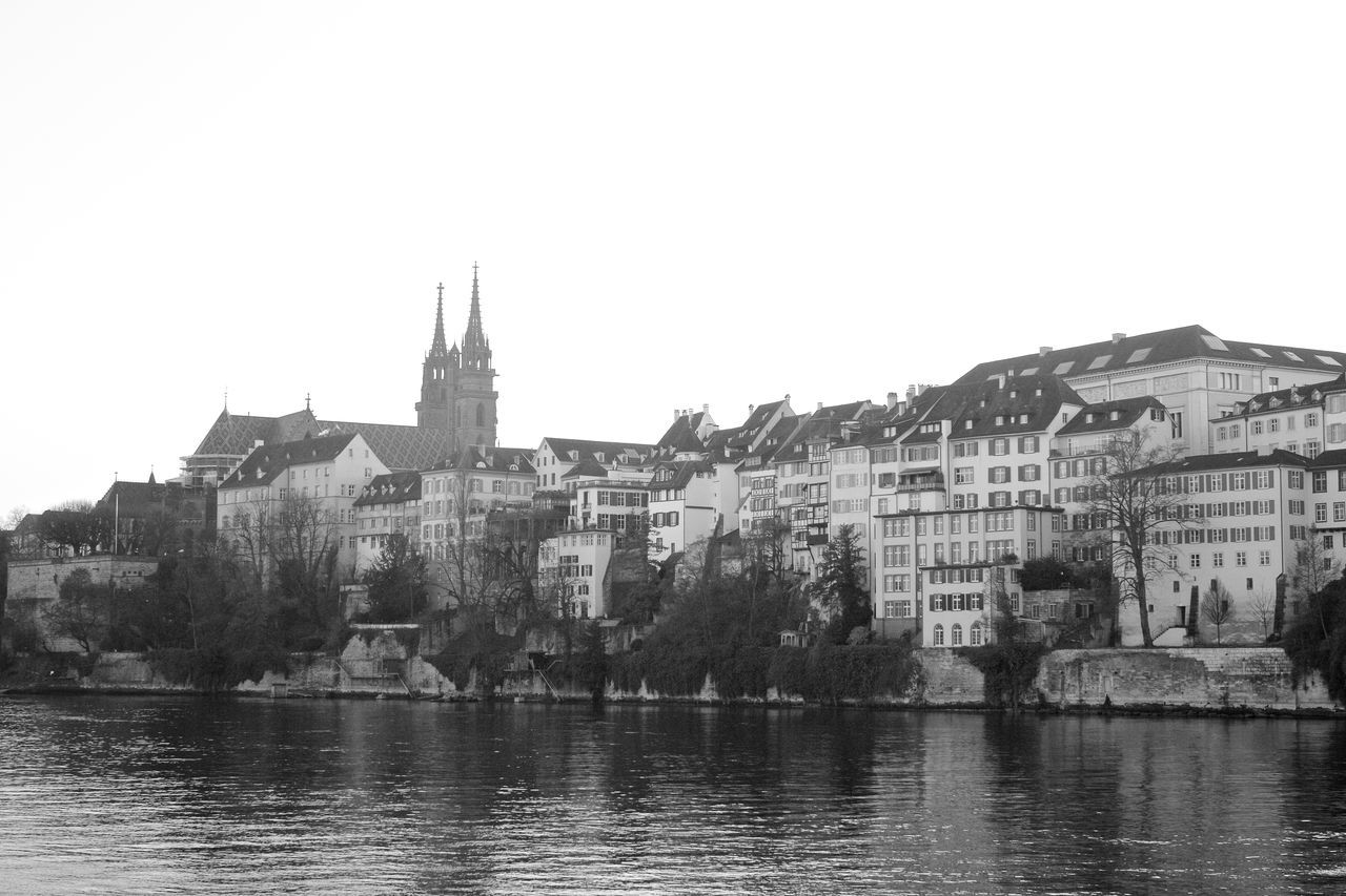 Architecture Basel Basel, Switzerland Black And White Buildings Cathedrals  Clear Sky Münster Outdoors Rhein Rhine Rivers Sky Water
