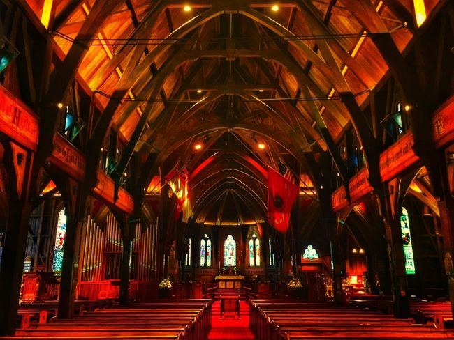 The old church Indoors  Illuminated Architecture Arch Built Structure The Way Forward Place Of Worship Pew No People Day