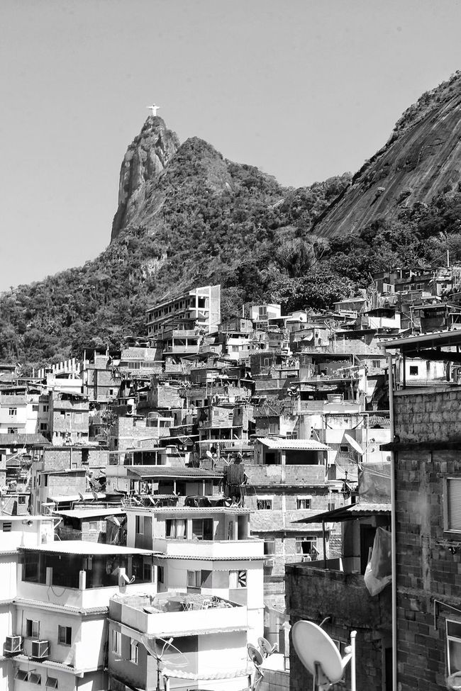 Architecture House Residential Building Clear Sky Crowded Mountain Cityscape Built Structure Building Exterior Housing Settlement Sky Tree Favela Jesus Sculpture Statue Streetphotography Monochrome Photography Light And Shadow Rio De Janeiro Brazil Canon Santamarta