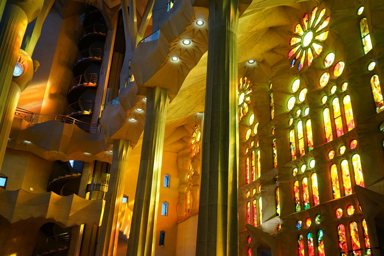 Architecture Built Structure City Gaudi Hanging Illuminated Indoors  Lighting Equipment Lights Low Angle View Night No People