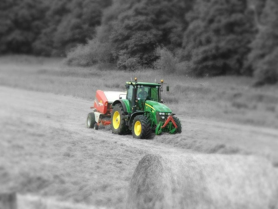 Transportation Summer Memories 🌄 Black And White With A Splash Of Colour Relaxing Taking Photos Haymaking The Modern Way John Deer Tractor