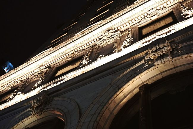 Architecture Architectural Detail Architectural Feature Façade Arch Built Structure Low Angle View Building Exterior Moulding Windows Exterior Night Nightphotography Nightshot Nightlights Illuminated NYC Nycphotography NYC Photography Historic