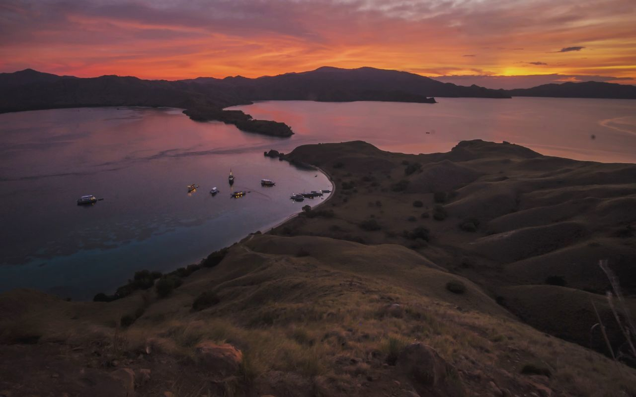 Sunset Dramatic Sky Nature Horizontal Outdoors Scenics Mountain Science Cloud - Sky No People Tree Beauty In Nature Landscape Gili Lawa Flores INDONESIA Komodo National Park Lost In The Landscape
