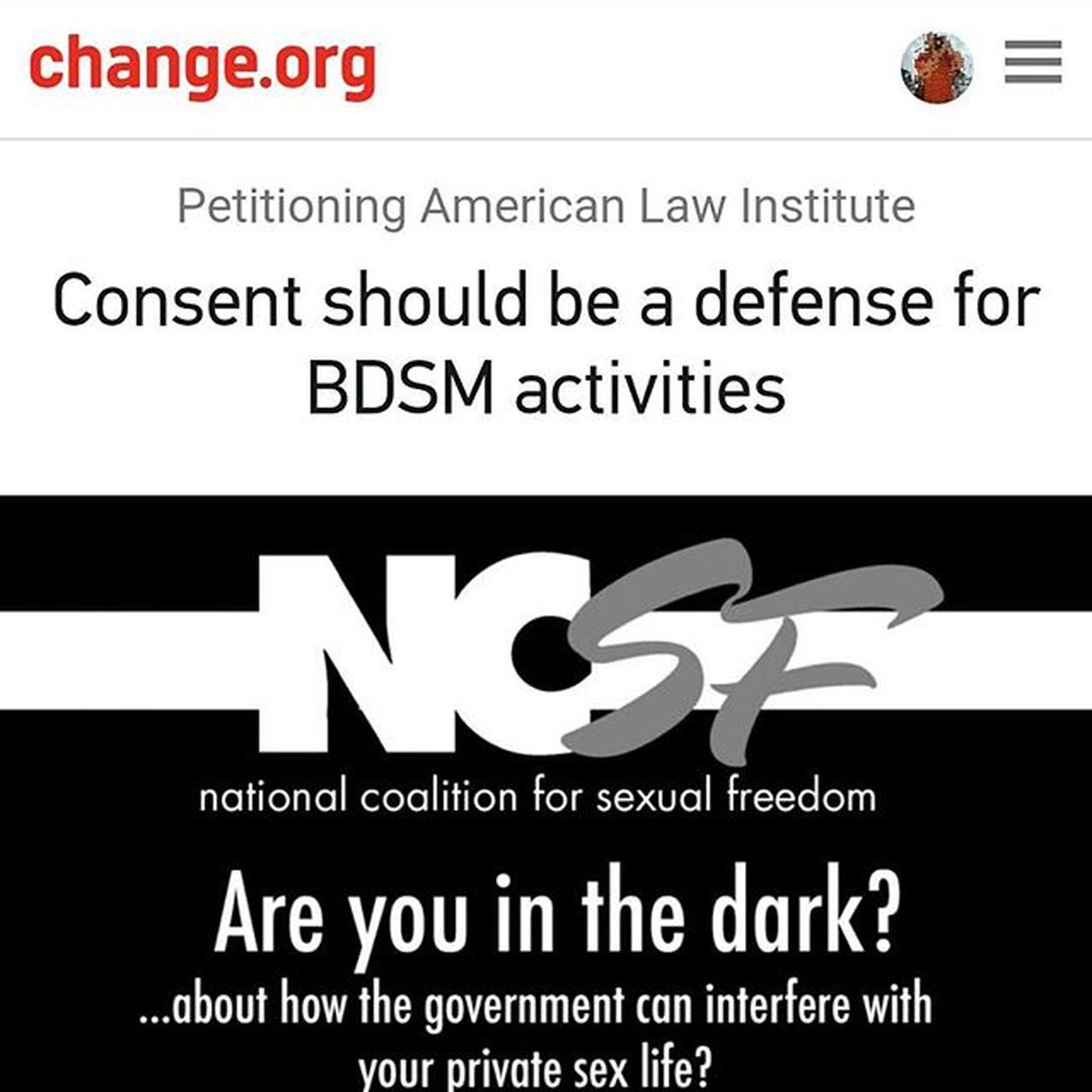 "Please take a moment and sign this! Google ""change.org NCSF"" and the link comes up. Consent Consentcounts Ncsf"