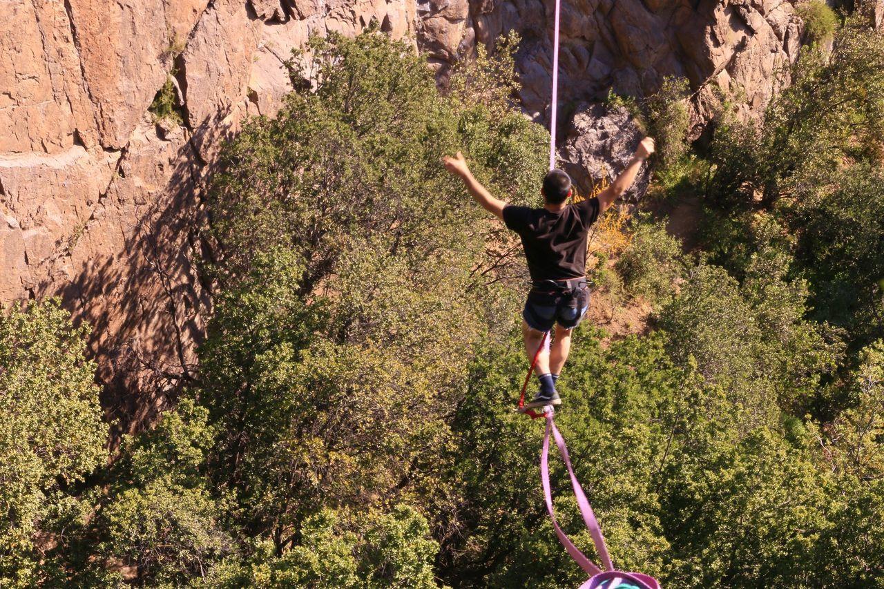 Slackline Highline Longline Slackline Bosque Magico Walking Nature Balance Sport People And Places