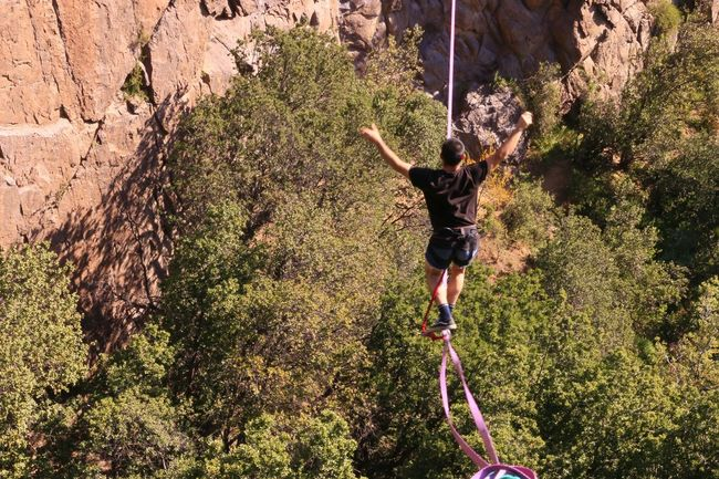Slackline Highline Longline Slackline Bosque Magico Walking Nature Balance Sport People And Places