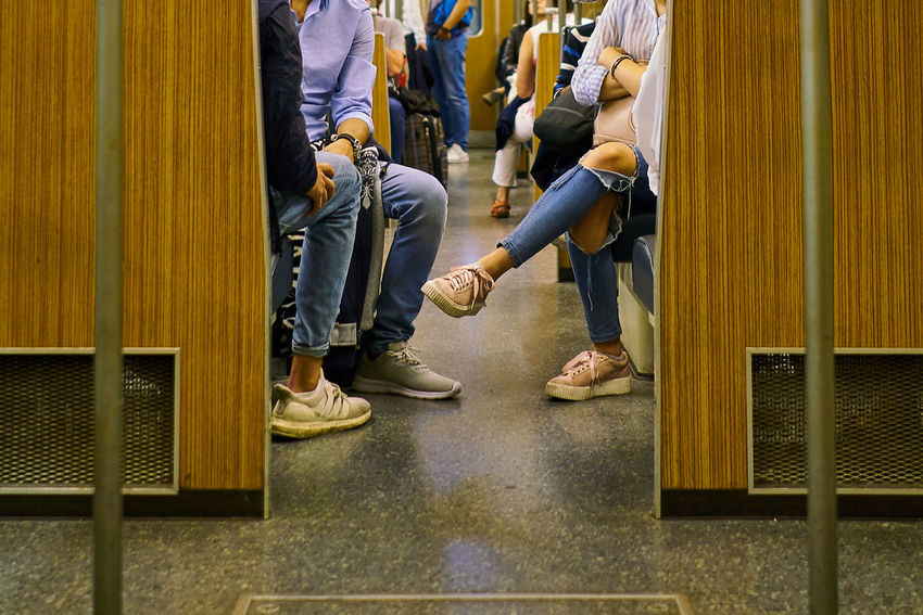 Shoe Low Section Human Body Part Human Leg Togetherness People Sitting Real People Young Women Young Adult Urban Germany Transportation Munich München Urbantransport HighResolution High Resolution Ubahn Underground U2 Transport Waiting Adult Transit