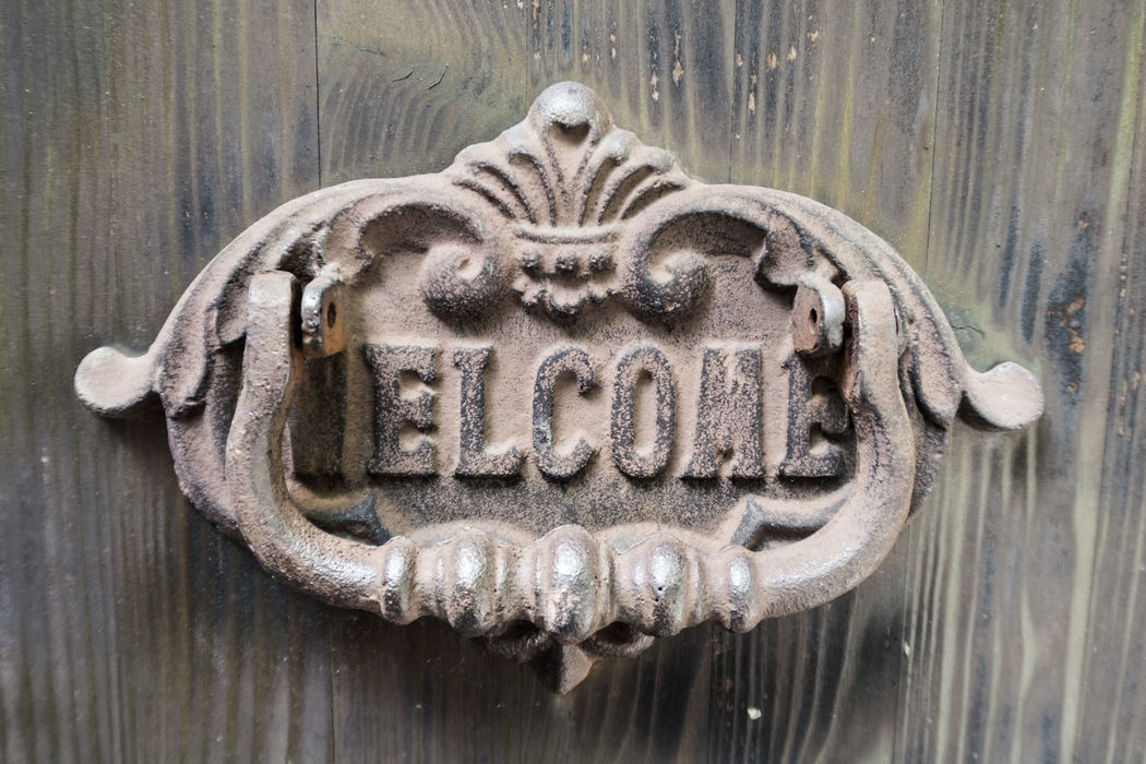 Door knocker showing the term welcome Come In Door Door Knob Door Knocker Entrance Old-fashioned Welcome Welcome Sign