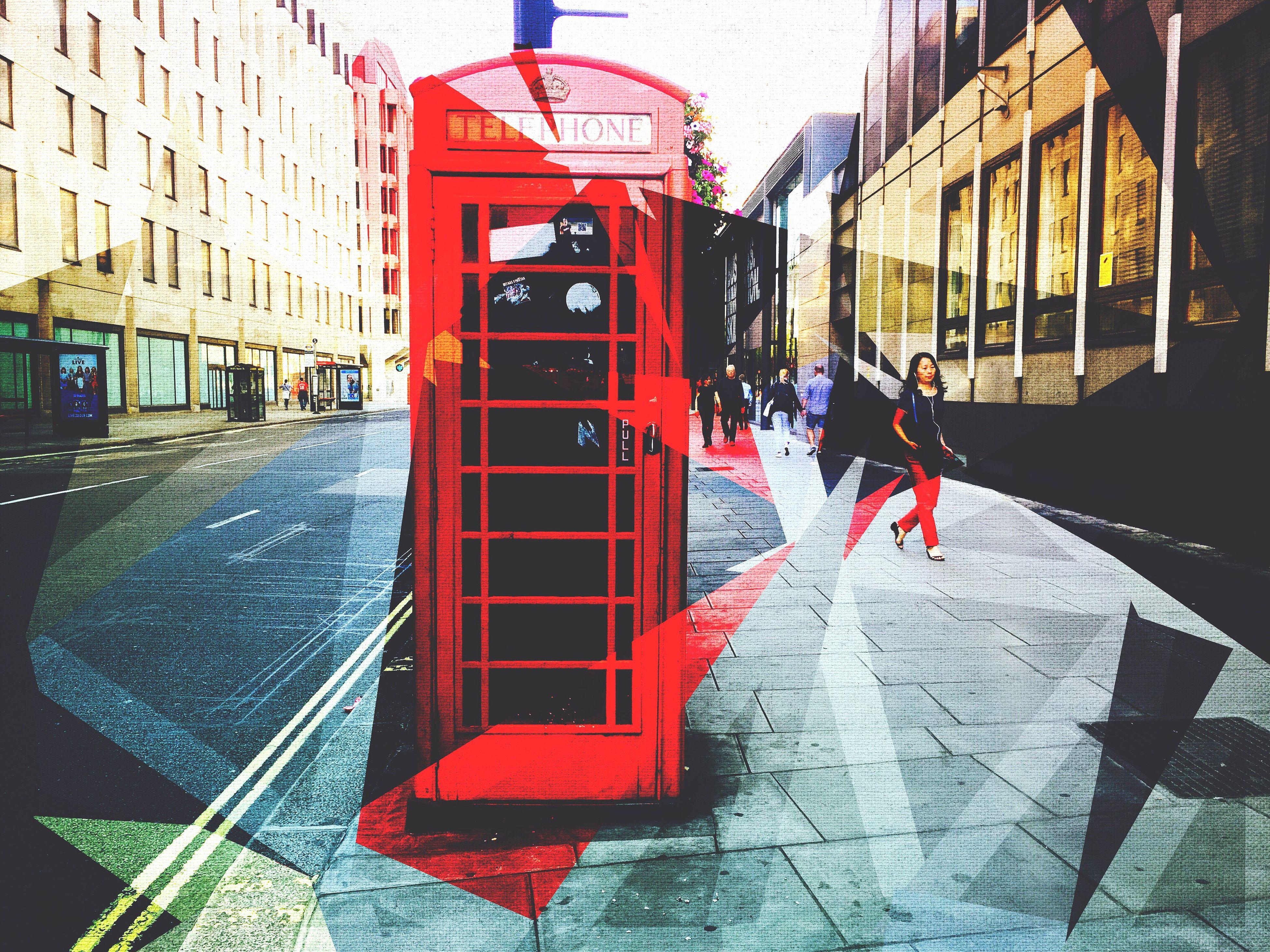 Architecture Red Street Telephone Booth Modern Digital Art Eyeemphoto