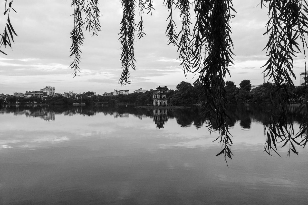ASIA Black & White Black And White Black And White Photography Blackandwhite Bnw Exploring Hanoi Island Lake Nature No People Pagoda Reflection Reflection Lake Reisen See Southeastasia Travel Tree Turtle Island Urlaub Vietnam Water