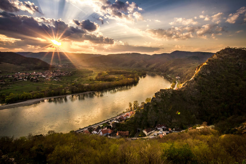 Pure Idyll Austria Beauty In Nature Cloud - Sky Danube Dramatic Landscape Dürnstein Grass HDR Idyllic Landscape Mountains And Valleys Mountainscape Nature No People Outdoors River Sunlight Sunrays Sunset Sunshine Tranquility Valley Village Wachau Water EyeEmNewHere