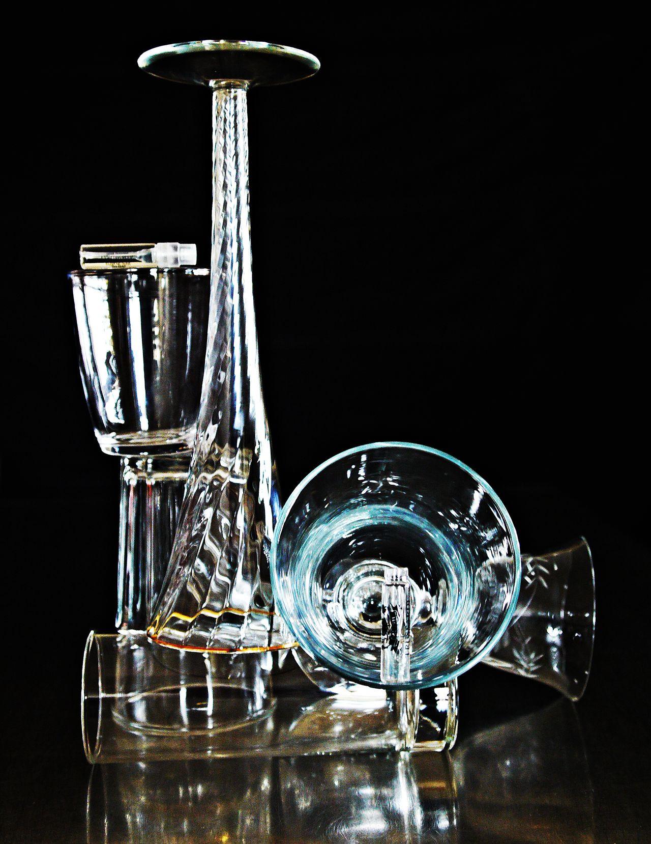 Balance Balance And Composure Black Background Drinking Glass Glass Stacks Low Angle View No People Photo Art Studio Shot