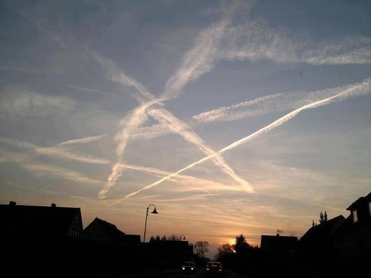 Chemtrails Chemtrails😷 Unknown Photographer Sky Sunset Death Pentagram Agendas