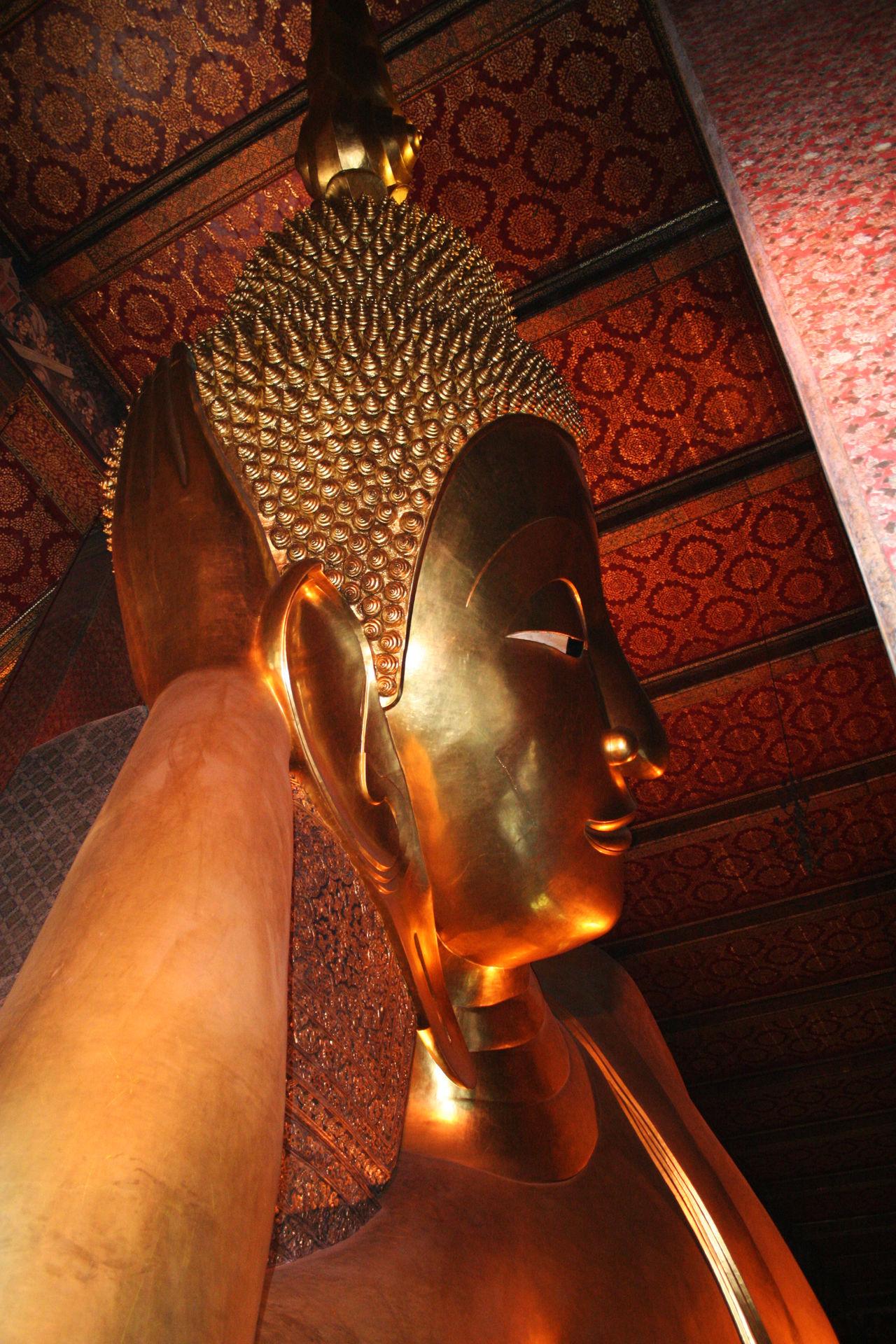 Arts Culture And Entertainment Bangkok Buddha Close-up Golden Illuminated Indoors  Light - Natural Phenomenon Reclining Buddha Religion Spotted In Thailand Statue Thailand