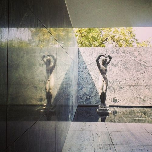 DoubleD Dancing Arts Sculptures nature reflection and architecture with MiesvanderRohe Barcelona