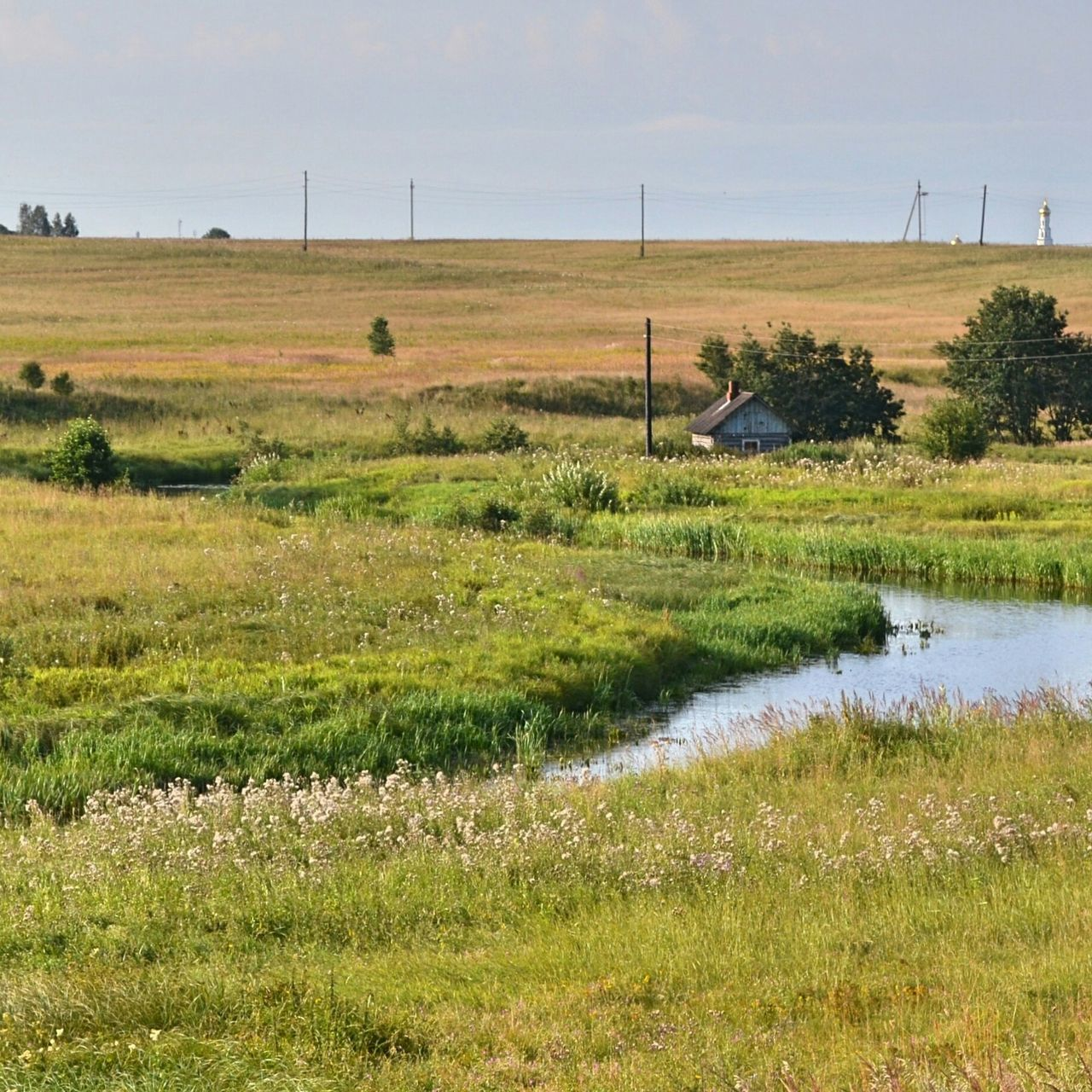 High Angle View Of Stream Amidst Grassy Field Against Sky