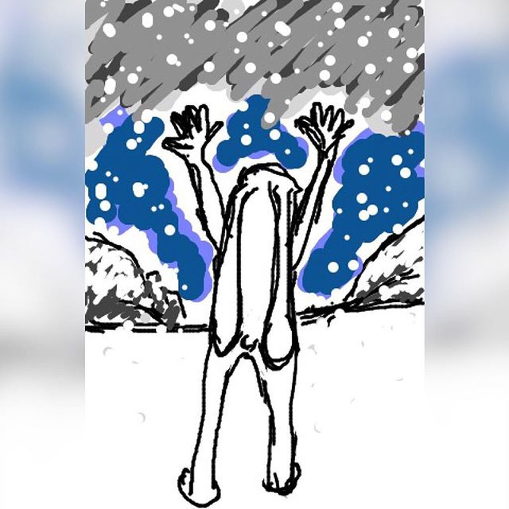 降雪祈願。 H_imagineartworks Himagine イラスト 落書き 手書き ひまじん