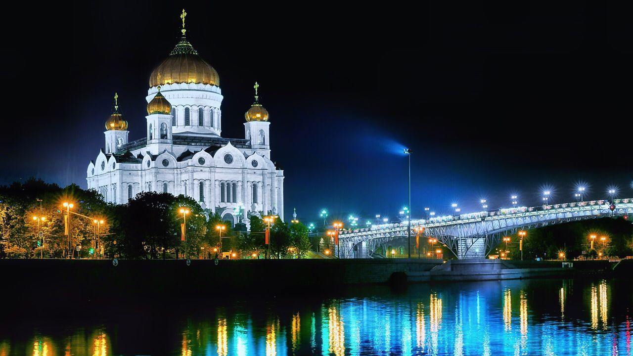 Night Illuminated Dome Religion Architecture Water Spirituality Place Of Worship Reflection Travel Destinations Building Exterior Built Structure Waterfront Sky Outdoors No People Politics And Government