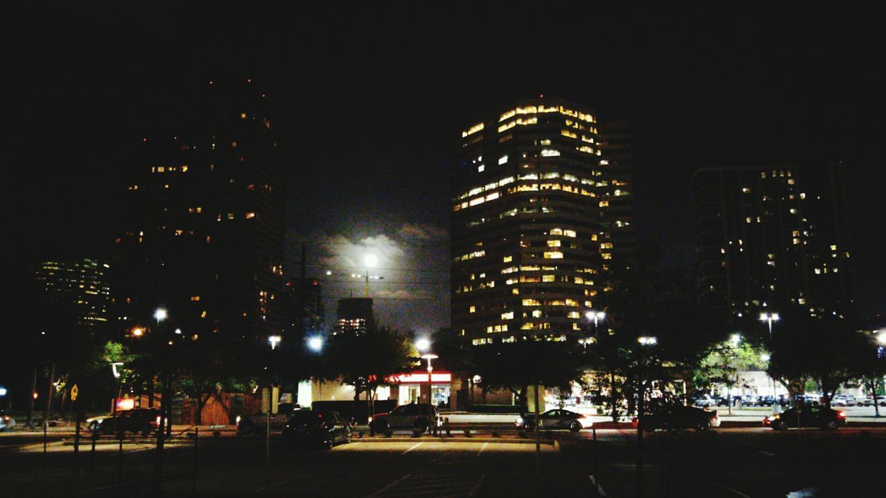 Night Illuminated Outdoors City Low Angle View Full Moon No People Sky