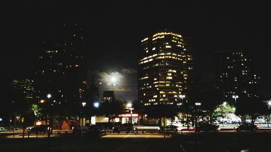 Night Illuminated Outdoors City Low Angle View Full Moon No People Sky