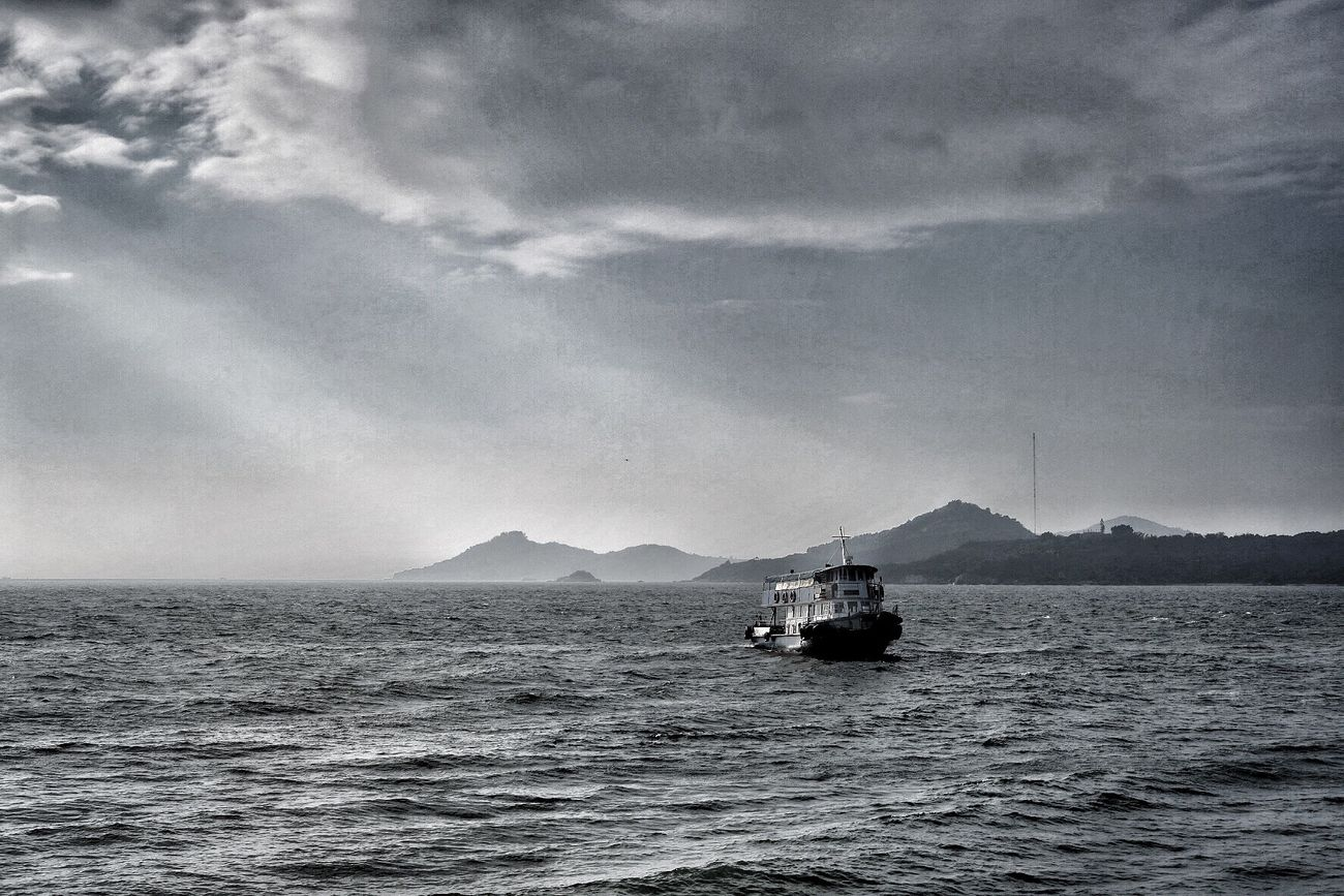 Sea Nautical Vessel Water Nature Beauty In Nature Sky Cloud - Sky Waterfront Transportation No People Outdoors Tranquil Scene Sailing Scenics Day Hong Kong Disneyland Resort Black And White Monochrome Photography Light And Shadow Light Tracks