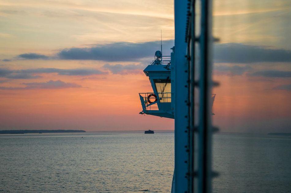 Looking Out Bridge At Sea Reflection Sea Seascape Sunset Twilight