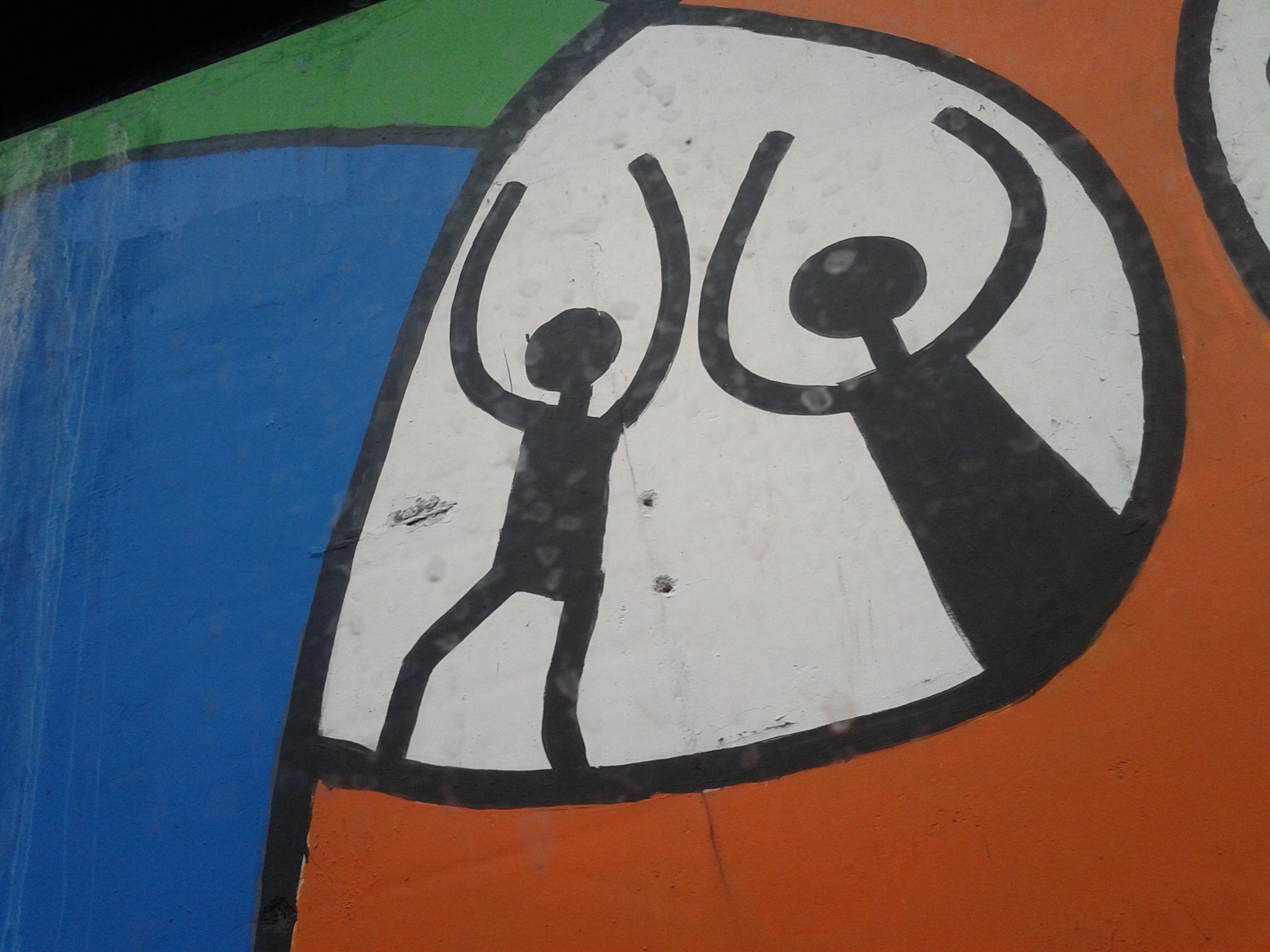 close-up, communication, street, graffiti, symbol, outdoors, message, blue, creativity, geometric shape, circle