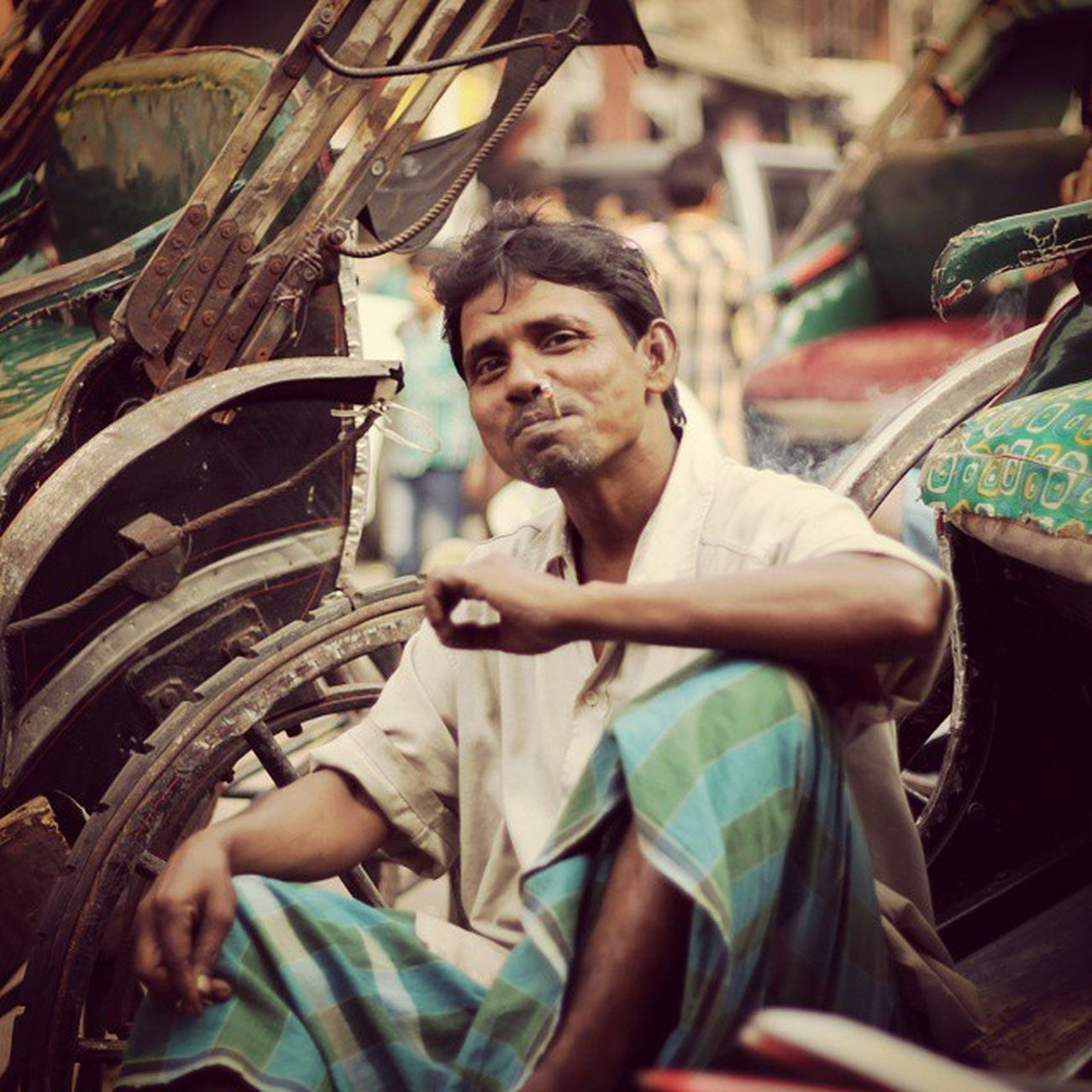 like a Boss... Kolkata Calcutta Canon Rickshaw Pull Man Boss Smoke Sexy Pull Style Swag Class Fashion Icon Superstar Rajani Thalaivar Street Travel Wanderlust Bengal