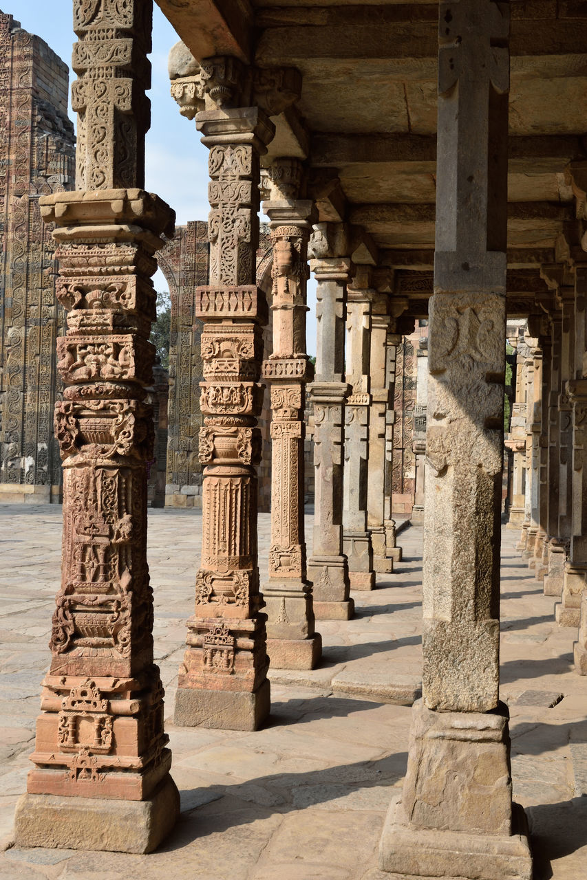 architecture, built structure, ancient, history, architectural column, old ruin, ancient civilization, religion, place of worship, the past, spirituality, travel destinations, building exterior, archaeology, tourism, sunlight, travel, shadow, day, outdoors, statue, no people, sky