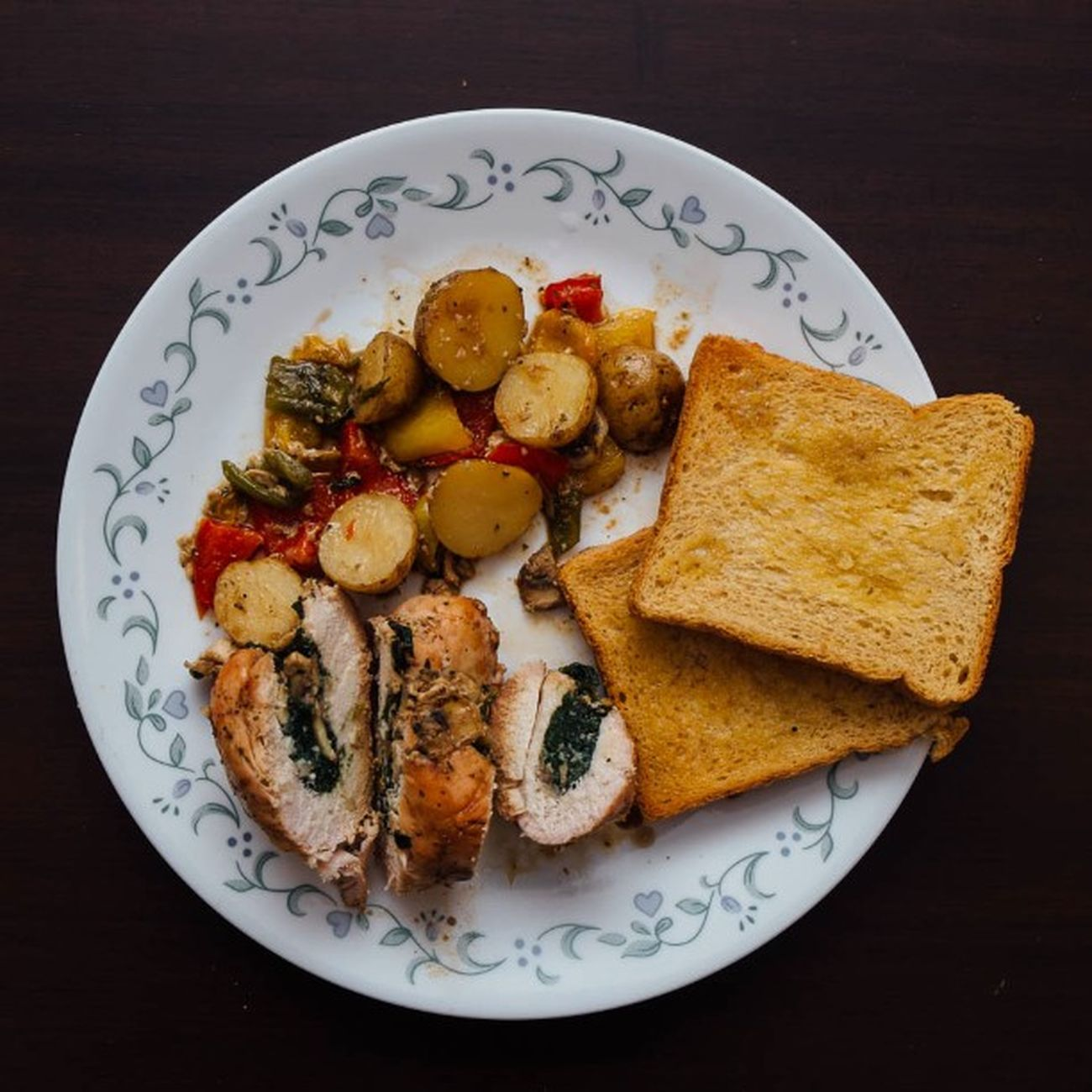 Honey glazed chicken stuffed with Mushroom and Spinach served with assorted Veggies done by the wife Whatsfordinner Stuffedchicken Food Fujifilm Fuji Xe1