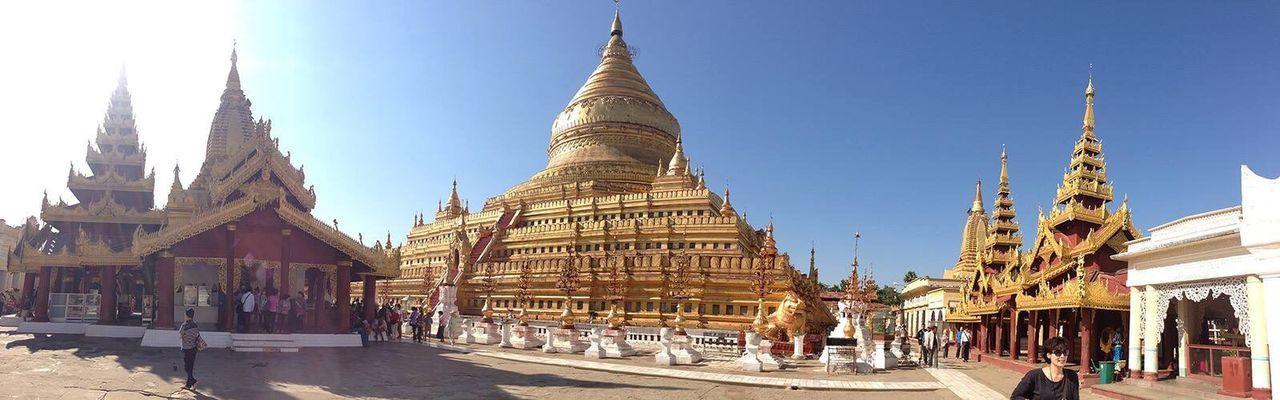 The Magnificent Magnificent Chedi Shwezigon Pagoda Bagan Bagan, Myanmar Myanmar Myanmarphotos Myanmar Pagoda Bagan In #myanmar Panorama Panoramic Photography Panoramic View Panoramashot Panoramic Views Temple Myanmar View IPhoneography Buddhist Temple