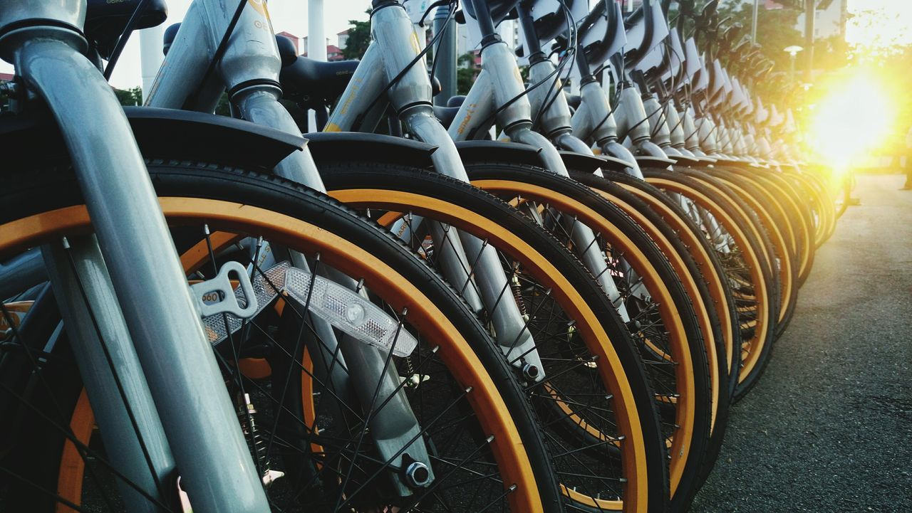 Ready for Champion. Bicycle Bicycle Parking Yellow Wheels Repetition Repetitive Pattern Energy Source Strong Sunlight Strong TogetherOn Wheels Get Ready To Race Get Ready Outdoors Extreme Adventures Extreme Sports Unity In Diversity UnityIsPower Paint The Town Yellow