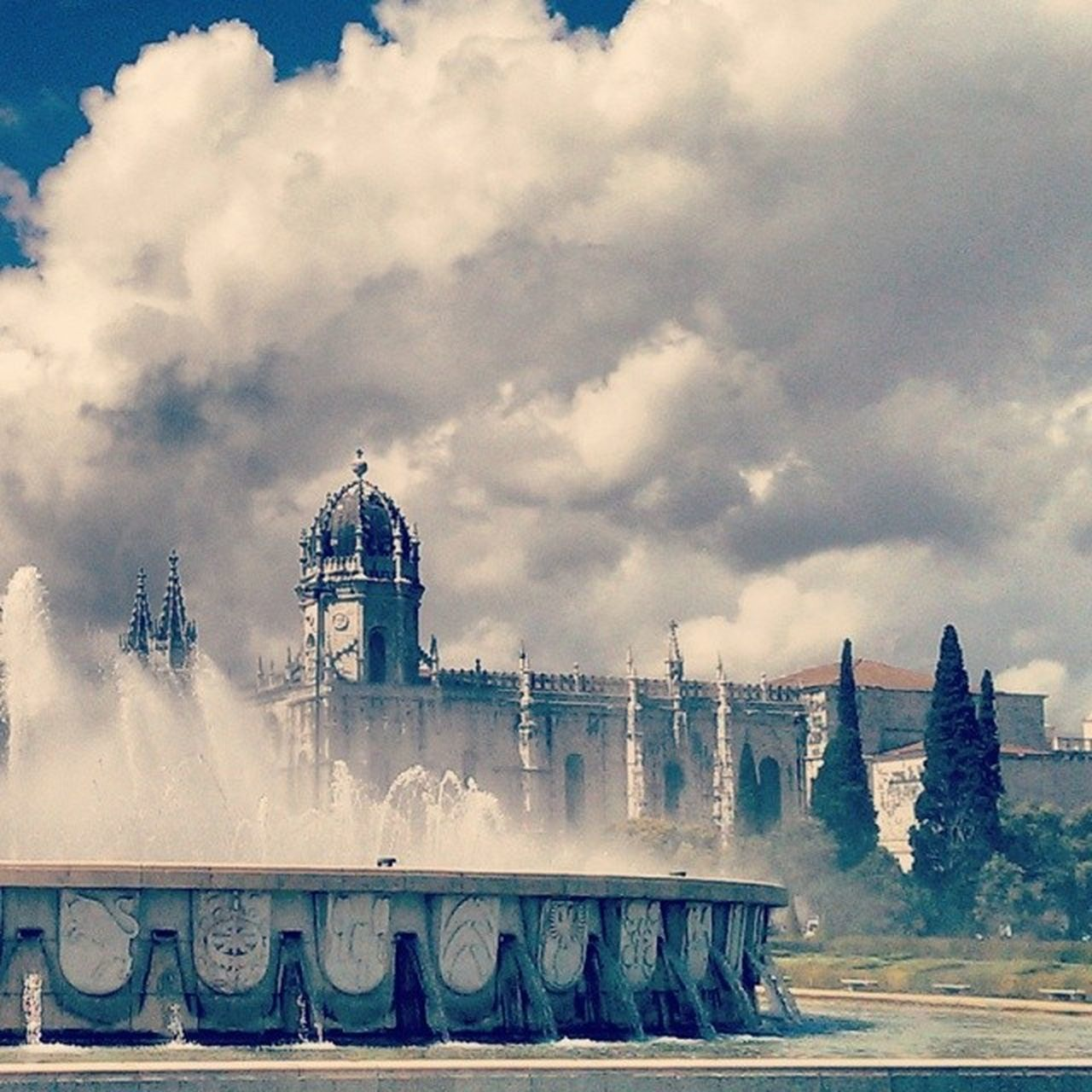 Portugal Lisboa Belam Jeronimos Monastery World Heritage Monument Vasco Da  Gama Tomb Unesco History Clouds Water Fountain Mist Architecture Travel Tourist Monks Instapic Like4like