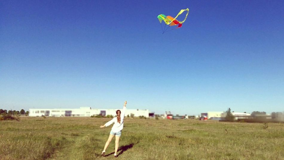 Live For The Story Dream to fly. One Woman Only One Person Adult People Mid Adult Field Flying Outdoors Sky One Young Woman Only Fun Leisure Activity Young Adult Rural Scene Women Day Grass Nature EyeEm Best Shots Clear Sky Be. Ready.