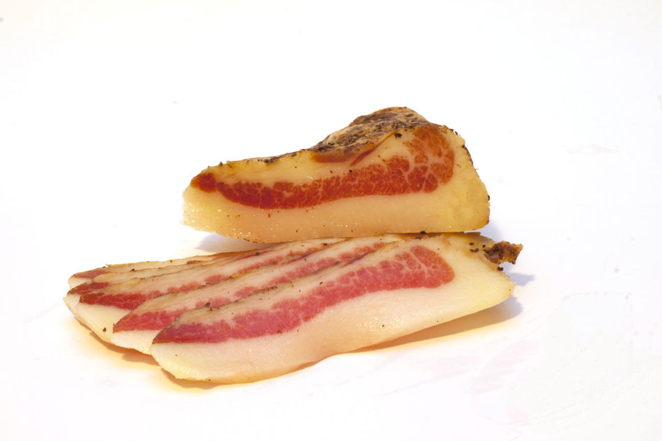 Sliced pork bacon and sauté for power Bacon, Pork, Sliced, For Power, And Fried, Close-up Cut Out Food Freshness Indulgence No People Still Life Studio Shot White Background