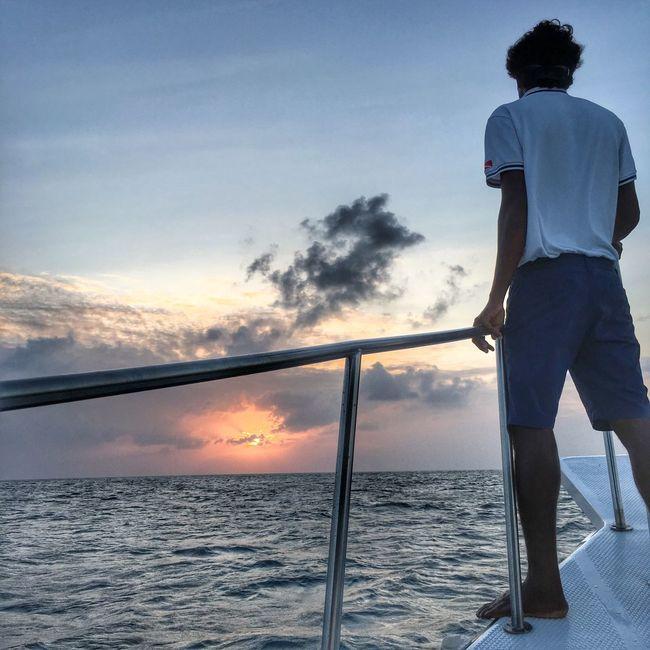 Sunset at the Indian Ocean Maldives Travel Sea Ocean Sunset