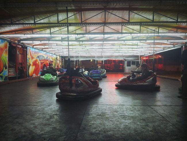 Dodgems Cars Light And Shadows Ceiling Lights Friends Amusement Ride Colorful People And Places