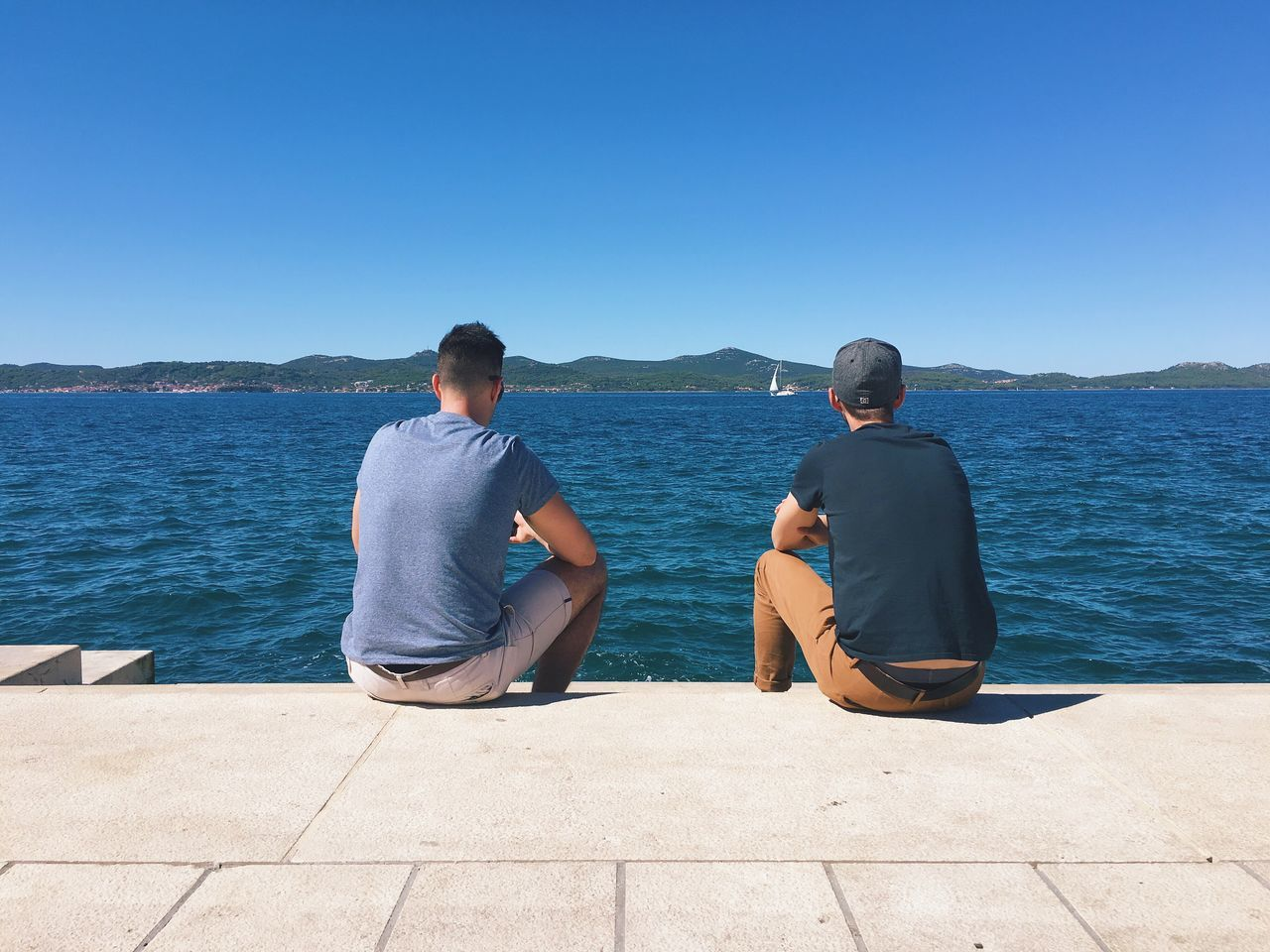 Water Sitting Clear Sky Bonding Copy Space Friendship Rear View Men Zadar Croatia