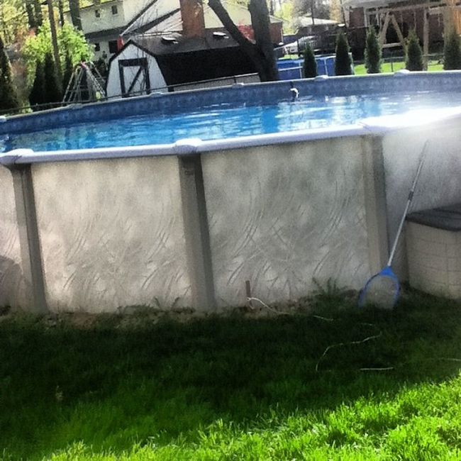 Finally opening the pool!(: CantwaitTillsummer Summer Comefaster Openingpool outside duckinthepool happy may