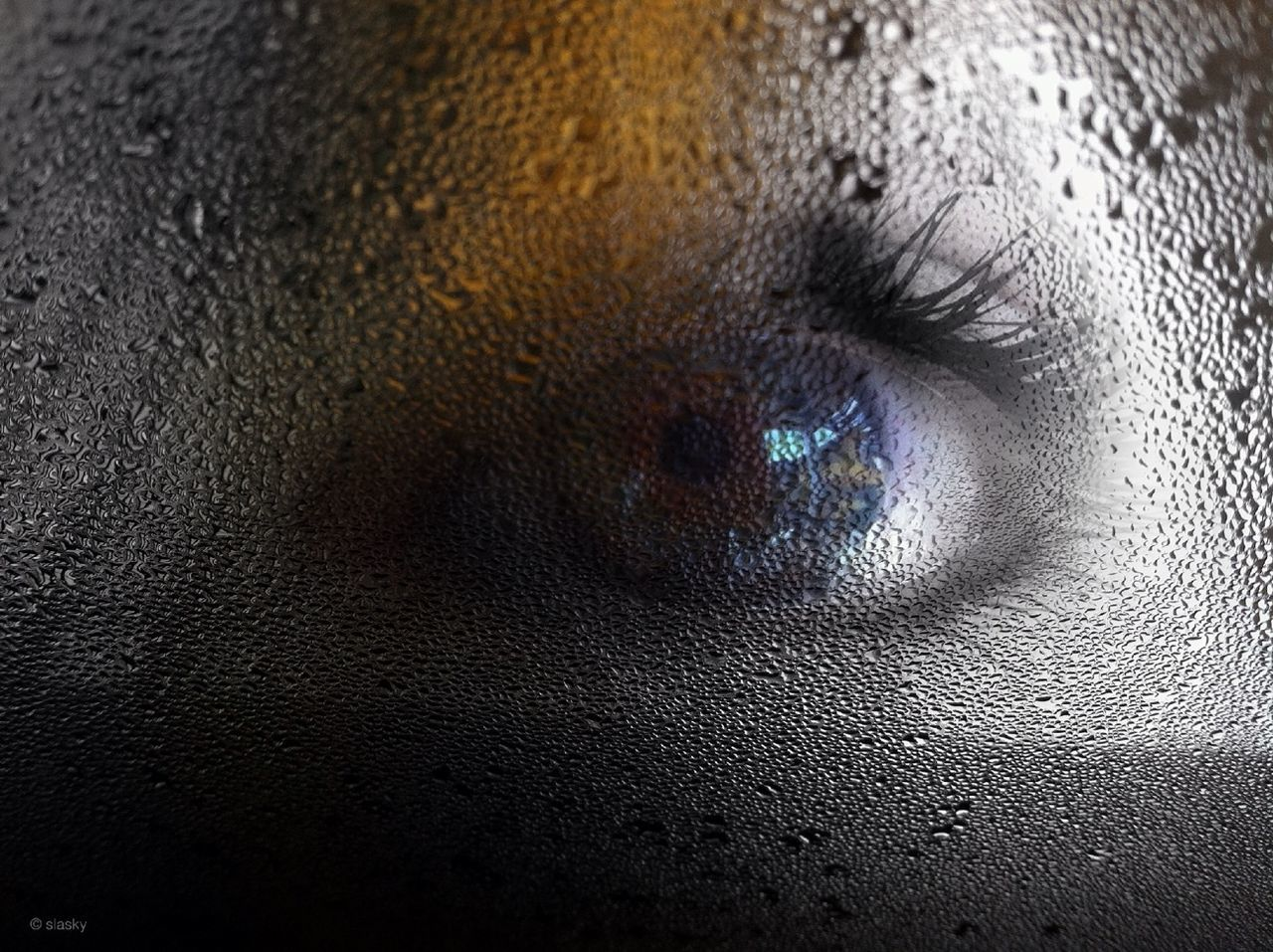 full frame, close-up, backgrounds, indoors, wet, one person, drop, human eye, detail, part of, extreme close-up, human face, extreme close up, water, textured, pattern, reflection, window