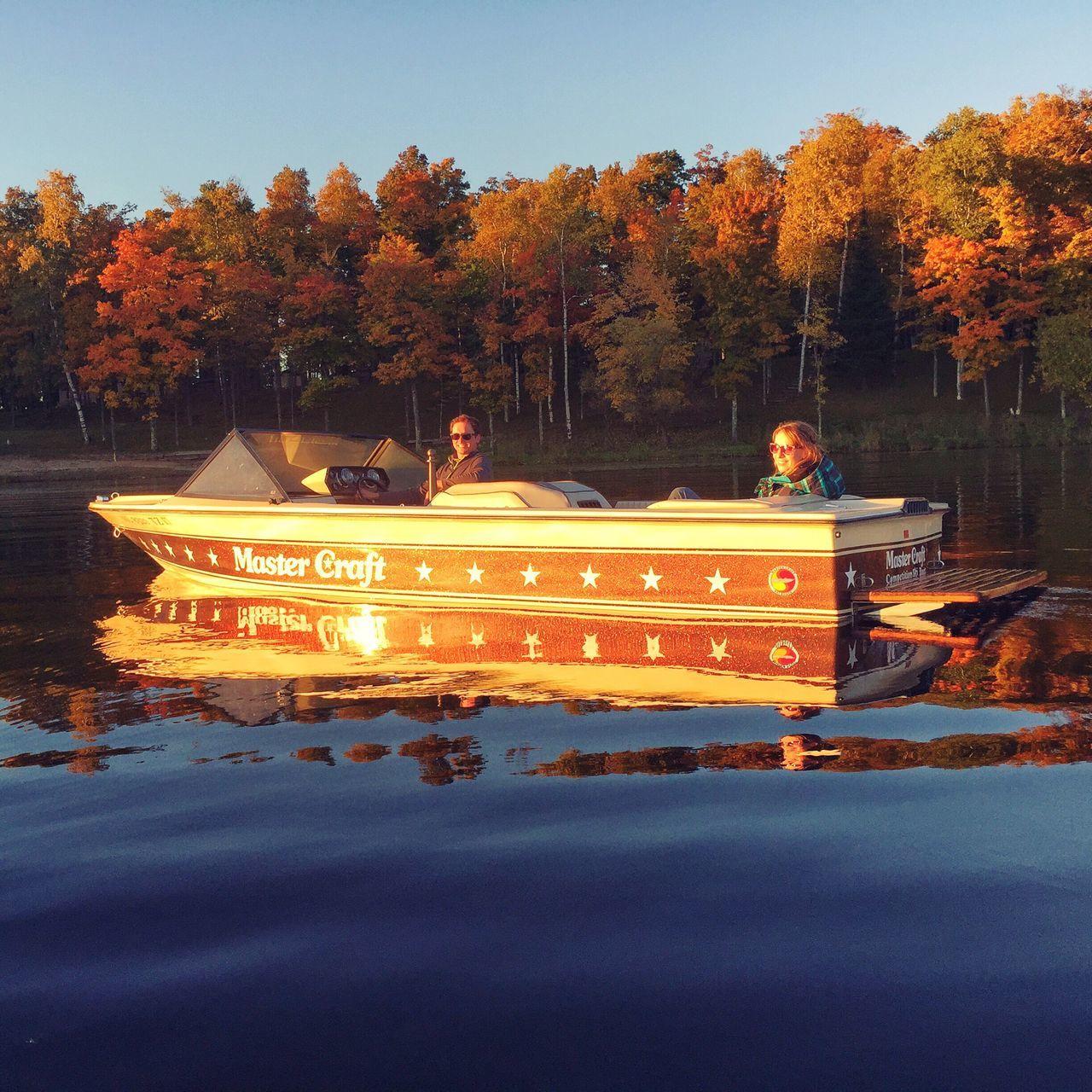 Fall boating Autumn Boat Lake Outdoors Sunset Puremichigan Mastercraft Reflection Iphoneonly Water