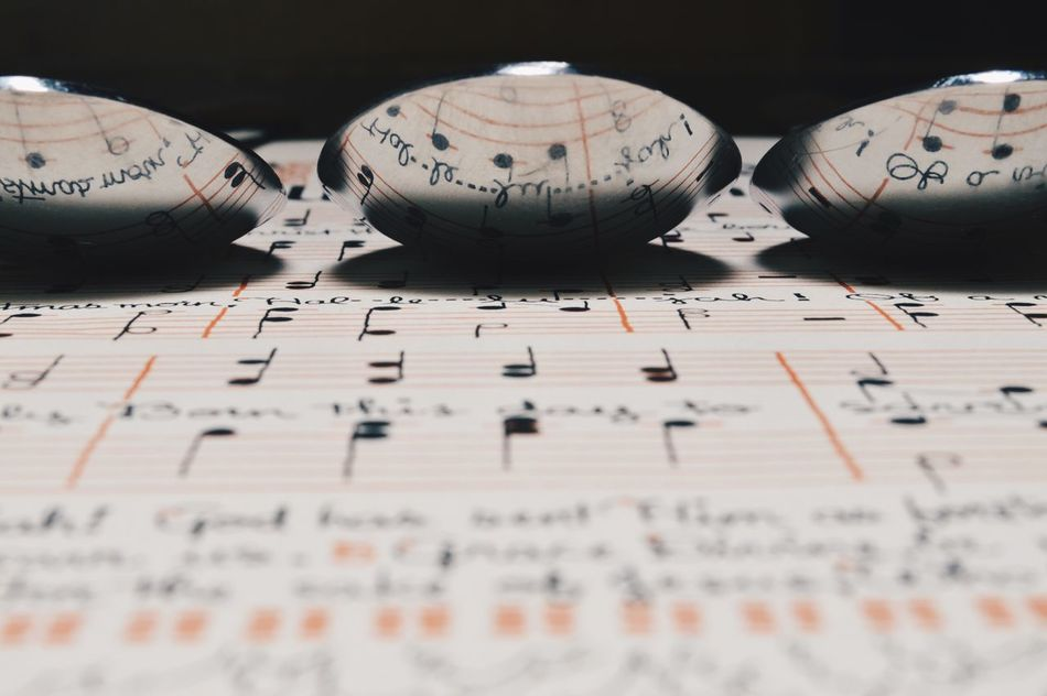 Reflection of music notes in a spoon Studio Shot Black Background No People Close-up Indoors  Music Music Notes Musical Notes Vintage Spoon Reflection Reflections Vintage Paper Old Reflection Photography Music Paper Music Sheets Backgrounds